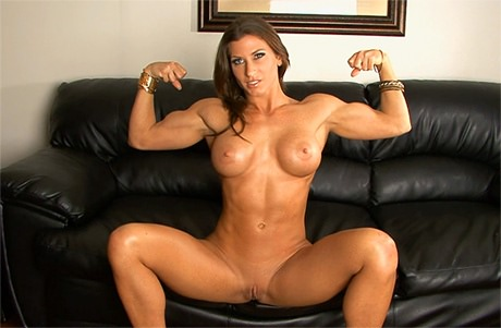 Sexy Fitness babe with strong muscles posing and flexing from wonderful katie morgan