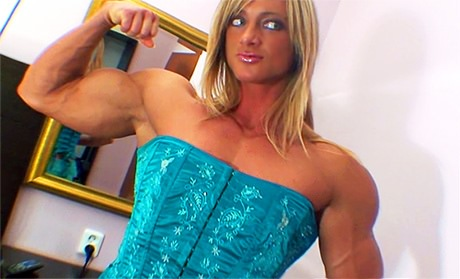 Sexy blonde Female Bodybuilder flexing her shredded muscles from wonderful katie morgan