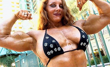 Sexy Female Bodybuilder flexing her big biceps in bikini from wonderful katie morgan