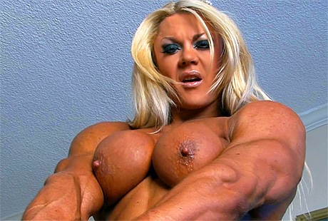 Sexy Female Bodybuilder flexing her huge muscles topless from wonderful katie morgan