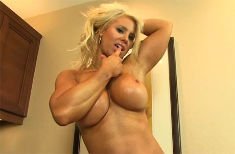 Sexy blonde Fitness babe with strong muscles and big boobies from wonderful ...